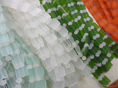 2 Strands • 16mm Sea Glass 2 Hole Square Duoble Strand Beads • You Pick Color