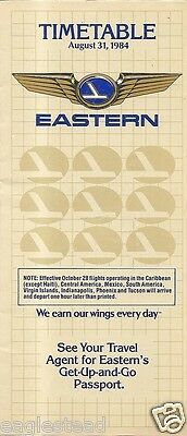 Airline Timetable - Eastern - 31/08/84
