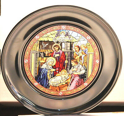 US Historical Pewter Stained Glass Plate Shepherd's Visit Nativity Manger NIB
