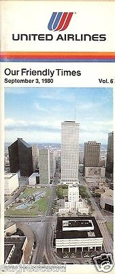Airline Timetable - United - 03/09/80 - Vol 6 - New to Houston Texas cover