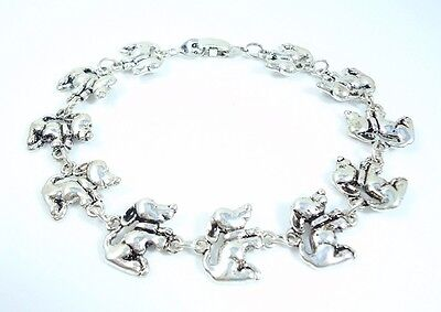 New 7.75  Inch Dachshund Lovers antique silver plated Bracelet  19.5 cm
