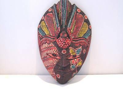 "Wooden Batik Mask Hand Carved Wood Bali Art Mask 9"" #8076"