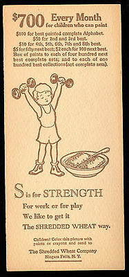S for STRENGTH 1929 Shredded Wheat CEREAL PREMIUM CARD Painted Alphabet Contest