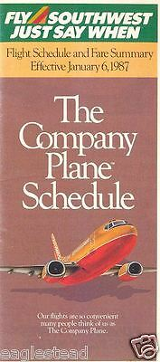 Airline Timetable - Southwest - 06/01/87