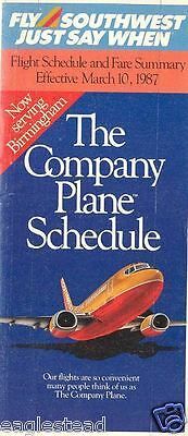 Airline Timetable - Southwest - 10/03/87 - Now to Birmingham