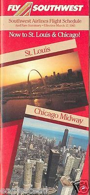 Airline Timetable - Southwest - 17/03/85 -  Now to St Louis Chicago