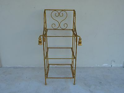 Elegant Italian Tole Gold Gilt Rope Etagere / Magazine Rack Perfect For Bathroom