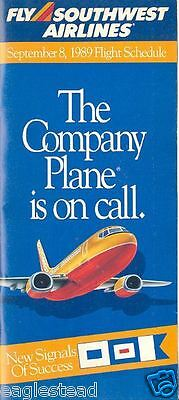 Airline Timetable - Southwest - 08/09/89