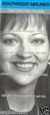Airline Timetable - Southwest - 03/04/94 - Station Manager
