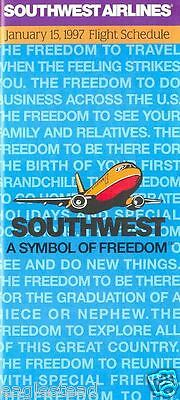 Airline Timetable - Southwest - 15/01/97 - A Symbol of Freedom