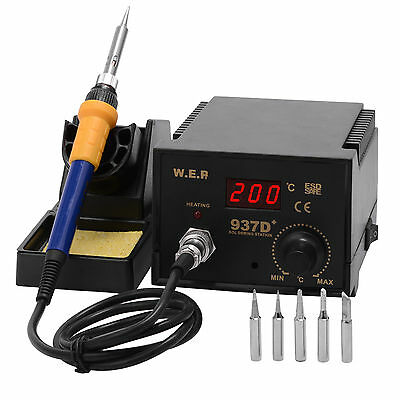 60W Soldering Iron Station 6 Tips Lead Free Kit ESD Safe Digital Display