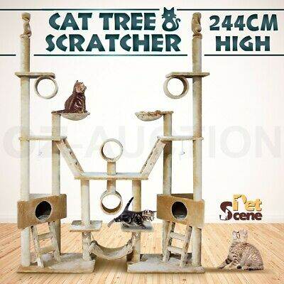 244cm Plush Gym Play Centre Cat Tree Post with Hammock Multi Level