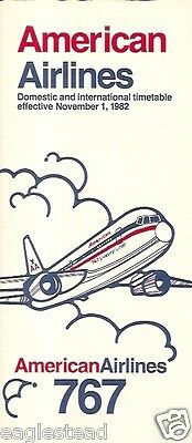 Airline Timetable - American - 01/11/82 - B767 Cover