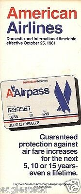 Airline Timetable - American - 25/10/81