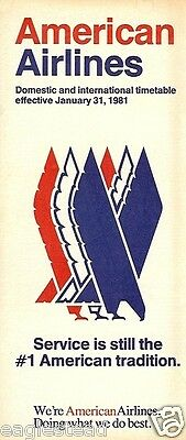 Airline Timetable - American - 31/01/81