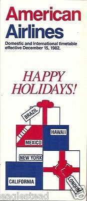 Airline Timetable - American - 15/12/82 - Happy Holidays!