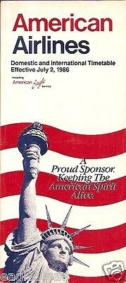Airline Timetable - American - 02/07/86