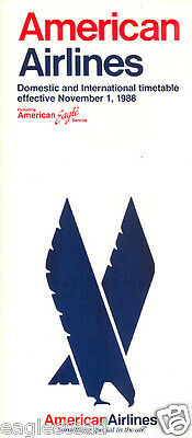 Airline Timetable - American - 01/11/88
