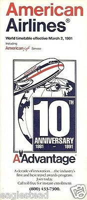Airline Timetable - American - 02/03/91 - 10th Anniversary AAdvantage