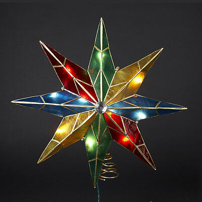 "15"" Lighted Capiz Poinsettia Star Christmas Tree Topper - Clear Lights"