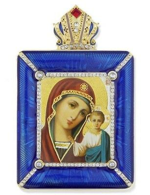 Madonna & Child Virgin of Kazan Crown Top Frame Icon w Chain Russian Room Decor