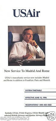 Airline Timetable - US Air - 15/06/96 - New to Madrid Rome