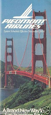 Airline Timetable - Piedmont - 01/11/84 - Golden Gate Bridge cover