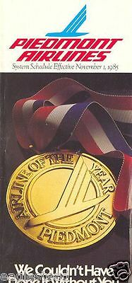 Airline Timetable - Piedmont - 01/11/85 - Airline of the Year