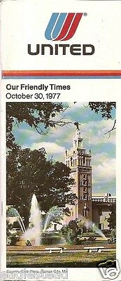 Airline Timetable - United - 30/10/77 - Country Club Plaza Kansas City Cover