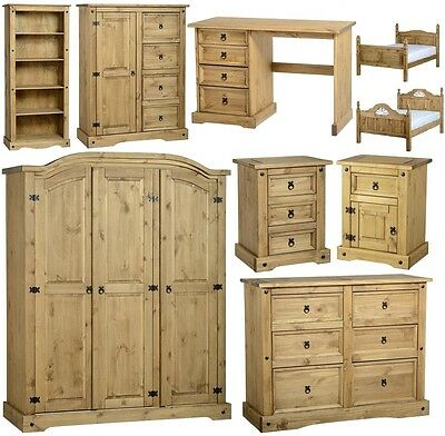 Corona Mexican Pine Bedroom Furniture Dressing Table, Bed, Wardrobe, Drawers