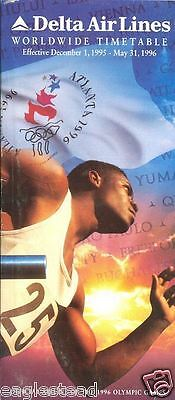 Airline Timetable - Delta - 01/12/95 - Olympic Athlete Games Cover