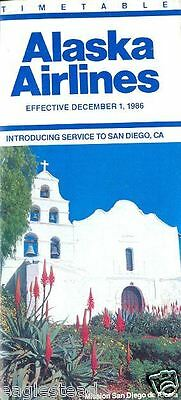Airline Timetable - Alaska - 01/12/86 - New to San Diego