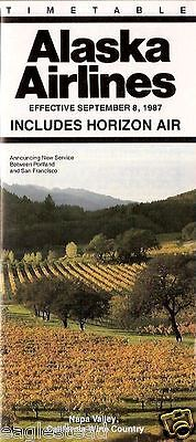 Airline Timetable - Alaska - Horizon Air - 08/09/87 - Napa Valley Wine Cover