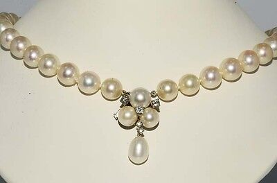 $7,000 9.50Mm & .43Ct Pearl & Diamond Necklace 14K White Gold Lock With Diamonds