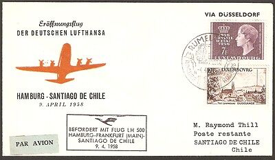 2171 LUXEMBURG TO CHILE FFC COVER 1958 LUFTHANSA RUMELANGE