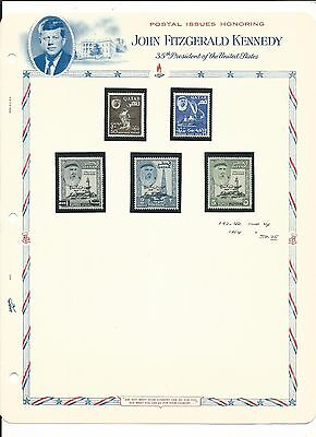 Qatar, John F. Kennedy Collection on White Ace Pages, Mint NH #42-46