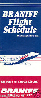 Airline Timetable - Braniff - 04/09/85