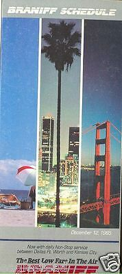 Airline Timetable - Braniff - 12/12/85