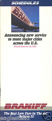 Airline Timetable - Braniff - 20/12/86