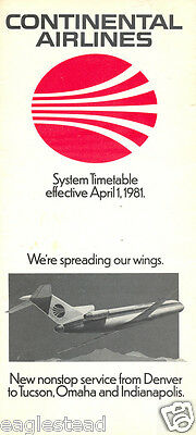 Airline Timetable - Continental - 01/04/81 - B727 Cover