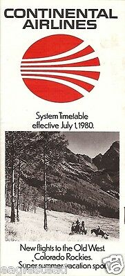 Airline Timetable - Continental - 01/07/80