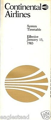 Airline Timetable - Continental - 15/01/83