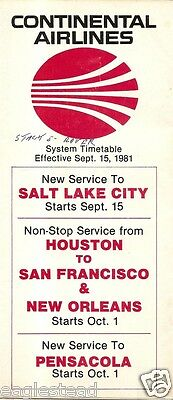 Airline Timetable - Continental - 15/09/81 - Now to Salt Lake City - Pensacola