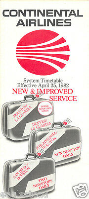 Airline Timetable - Continental - 25/04/82