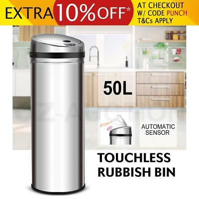 50L Stainless Steel Rubbish Bin Touchless Motion Sensor Kitchen Automatic Trash