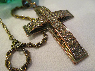 Vintage Religious Copper/Bronze Artistic Medieval Style Cross w/Chain~ Must SEE!