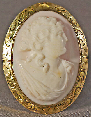 Antique Vintage c.1900s Solid Gold & Coral Carved Cameo Pin Brooch Pendant
