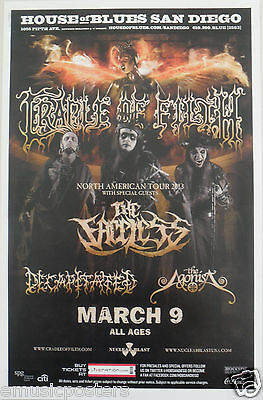 Cradle Of Filth / Faceless / Decapitated  /agonist 2013 San Diego Concert Poster