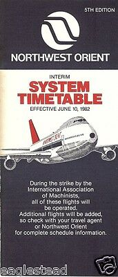Airline Timetable - Northwest Orient - 10/06/82 - IAM Machinists Strike 5th Ed
