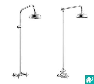 Traditional Designer Chrome Mixer Shower Head Exposed Thermostatic Diverter Set